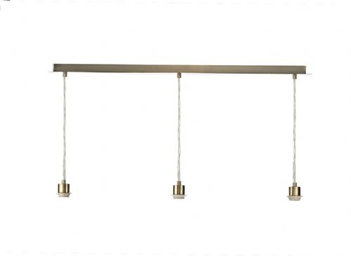3 Light Antique Brass E27 Suspension With Clear CabLE (Class 2 Double Insulated) BXSP367-17